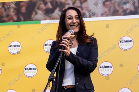 Stock Photo of Vice President of the Italian Senate Paola Taverna speaks during the demonstration. A national demonstration called by the 5-star movement (M5S) to defend a recent law that cut parliamentary pensions took place in Rome.