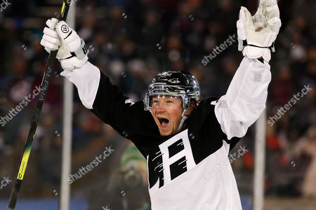 Los Angeles Kings right wing Tyler Toffoli celebrates after scoring the go-ahead goal against the Colorado Avalanche during the third period of an NHL hockey game, at Air Force Academy, Colo. The Kings won 3-1