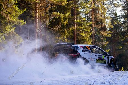 Jari-Matti Latvala of Finland drives his Toyota Yaris WRC during leg one of the Rally of Sweden as part of the FIA World Rally Championship (WRC) in Torsby, Sweden, 14 February 2020.