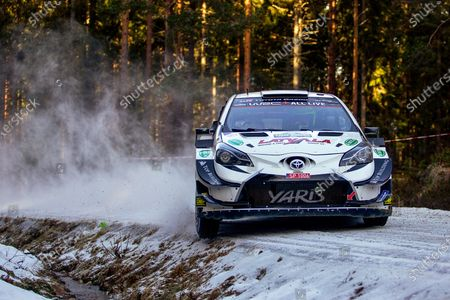 Stock Picture of Jari-Matti Latvala of Finland drives his Toyota Yaris WRC during leg one of the Rally of Sweden as part of the FIA World Rally Championship (WRC) in Torsby, Sweden, 14 February 2020.