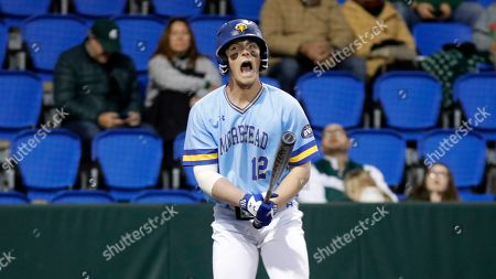 Morehead State's Stephen Hill yells after swinging the bat against Michigan State in an NCAA college baseball game at Shipyard Park, in Mt. Pleasant, S.C. Michigan State defeated Morehead State 15-3