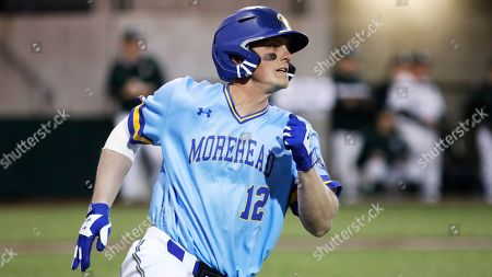 Morehead State's Stephen Hill runs to first base against Michigan State in an NCAA college baseball game at Shipyard Park, in Mt. Pleasant, S.C. Michigan State defeated Morehead State 15-3