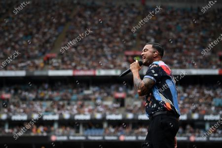 Stock Image of Guy Sebastian performs during the Fire Fight Australia bushfire relief concert at ANZ Stadium in Sydney, Australia, 16 February 2020.