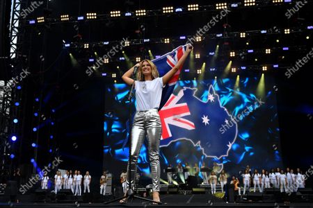Stock Picture of Delta Goodrem performs during the Fire Fight Australia bushfire relief concert at ANZ Stadium in Sydney, Australia, 16 February 2020.