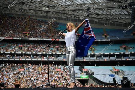 Stock Image of Delta Goodrem performs during the Fire Fight Australia bushfire relief concert at ANZ Stadium in Sydney, Australia, 16 February 2020.