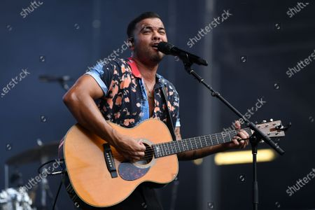 Guy Sebastian performs during the Fire Fight Australia bushfire relief concert at ANZ Stadium in Sydney, Australia, 16 February 2020.