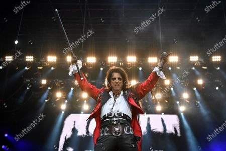 Stock Image of Alice Cooper performs on stage during the Fire Fight Australia bushfire relief concert at ANZ Stadium in Sydney, New South Wales, Australia, 16 February 2020. Thousands of people attended the concert, with 10 hours of musical performances, to raise funds for communities devastated by bushfires.