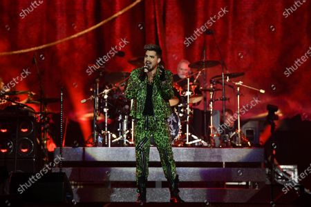 Adam Lambert of Queen performs during the Fire Fight Australia bushfire relief concert at ANZ Stadium in Sydney, New South Wales, Australia, 16 February 2020. Thousands of people attended the concert, with 10 hours of musical performances, to raise funds for communities devastated by bushfires.
