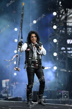Stock Photo of Alice Cooper performs during the Fire Fight Australia bushfire relief concert at ANZ Stadium in Sydney, Australia,  16 February 2020. Thousands of people attended the concert, with 10 hours of musical performances, to raise funds for communities devastated by bushfires.
