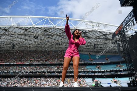 Jessica Mauboy performs during the Fire Fight Australia bushfire relief concert at ANZ Stadium in Sydney, Australia, 16 February 2020.