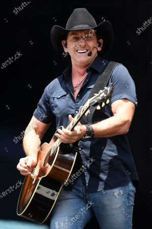 Stock Picture of Lee Kernaghan performs during the Fire Fight Australia bushfire relief concert at ANZ Stadium in Sydney, Australia, 16 February 2020.