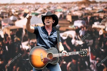 Stock Image of Lee Kernaghan performs during the Fire Fight Australia bushfire relief concert at ANZ Stadium in Sydney, Australia, 16 February 2020.