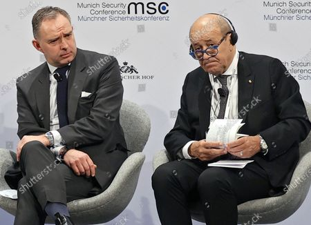 British Cabinet Secretary and Head of the Home Civil Service Mark Sedwill (L), and French Foreign Minister Jean-Yves Le Drian (R) during a Panel Discussion 'Eurovision Contest: A Europe That Projects' at the 56th Munich Security Conference (MSC) in Munich, Germany, 16 February 2020. More than 500 high-level international decision-makers meet at the 56th Munich Security Conference in Munich during their annual meeting from 14 to 16 February 2020 to discuss global security issues.