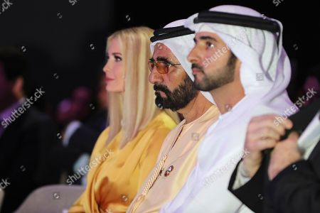 Ivanka Trump, Mohammed bin Rashid Al Maktoum, Hamdan bin Mohammed bin Rashid Al Maktoum. From left to right, Ivanka Trump, the daughter and senior adviser to U.S. President Donald Trump, Sheikh Mohammed bin Rashid Al Maktoum, Vice President and Prime Minister of the United Arab Emirates and ruler of Dubai and Dubai Crown Prince, Sheikh Hamdan bin Mohammed bin Rashid Al Maktoum, attend the Global Women's Forum in Dubai, United Arab Emirates