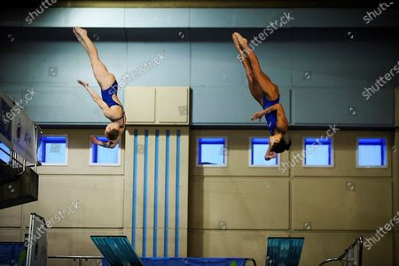 US divers Kassidy Cook y Sarah Bacon in action during the women's 3 meters synchronized dive finals in the framework of the FINA Diving Grand Prix Madrid 2020 at M86 swimming pools in Madrid, Spain, 16 February 2020.