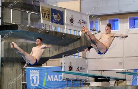 US divers David Boudia y Steele Jhonson in action during the men's 3 meters synchronized dive finals in the framework of the FINA Diving Grand Prix Madrid 2020 at M86 swimming pools in Madrid, Spain, 16 February 2020.