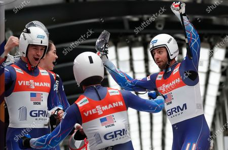 Summer Britcher, Tucker West, Chris Mazdzer, Jayson Terdiman of US celebrate after finishing the Team Relay competition at the FIL Luge World Championships in Sochi, Russia, 16 February 2020.