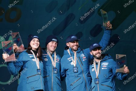 Third placed Summer Britcher, Tucker West, Chris Mazdzer, Jayson Terdiman of US   celebrate during the award ceremony for the Team Relay competition at the FIL Luge World Championships in Sochi, Russia, 16 February 2020.