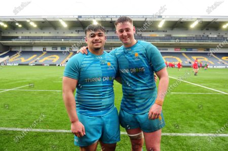 Jon Lilley and Jack Lewis of Worcester Warriors U18 pose for a photo after the match