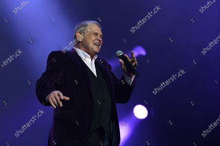 Stock Image of John Farnham performs during the Fire Fight Australia bushfire relief concert at ANZ Stadium in Sydney, Australia, 16 February 2020. Thousands of people attended the concert, with 10 hours of musical performances, to raise funds for communities devastated by bushfires.