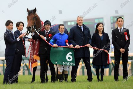 , Tokyo, Winners presentation. Darlington Hall with Christophe Lemaire up wins the Kyodo News Hai at Fuchu racecourse, JPN.