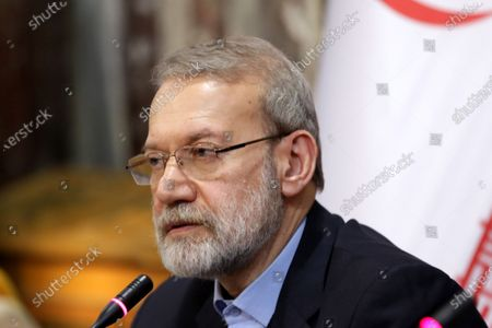 Iranian Parliament Speaker Ali Larijani speaks during a press conference in Damascus, Syria, 16 February 2020. According to media reports, Larjani is visiting Syria for meetings with officials on bilateral relations and regional issues including the situation in Idlib and conflict between Turkey and Syria.