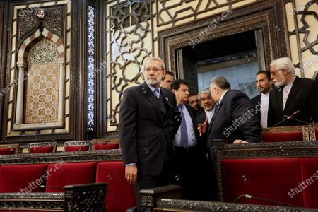 Iranian Parliament Speaker Ali Larijani (C) visits Syrian parliament in Damascus, Syria, 16 February 2020. According to media reports, Larjani is visiting Syria for meetings with officials on bilateral relations and regional issues including the situation in Idlib and conflict between Turkey and Syria.