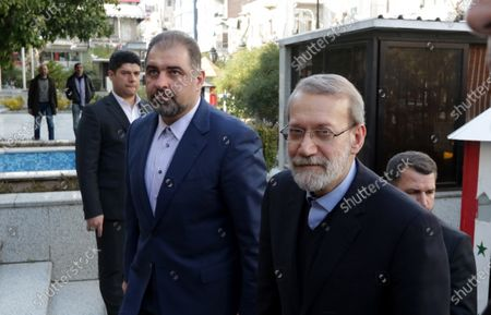 Iranian Parliament Speaker Ali Larijani (R) arrives to visit the Syrian parliament in Damascus, Syria, 16 February 2020. According to media reports, Larjani is visiting Syria for meetings with officials on bilateral relations and regional issues including the situation in Idlib and conflict between Turkey and Syria.