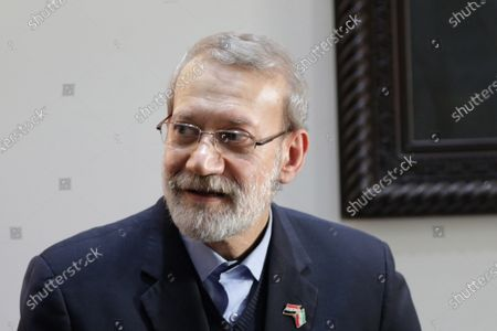 Iranian Parliament Speaker Ali Larijani visits the Syrian parliament in Damascus, Syria, 16 February 2020. According to media reports, Larjani is visiting Syria for meetings with officials on bilateral relations and regional issues including the situation in Idlib and conflict between Turkey and Syria.