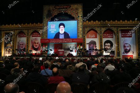 Supporters of Hezbollah listen to a speech by Hezbollah leader Sayyed Hassan Nasrallah delivered on a screen during a rally to mark the Martyrs leaders Day at southern suburb Beirut, Lebanon, 16 February 2020. According to reports, the gathering was organized by Hezbollah in commemoration of the Martyrs Day, to mark the death of Sayyed Abbas Mousawi on 16 February 1992, Sheikh Ragheb Harb Ragheb Harb killed 16 February 1984 and Hajj Imad Moghnieh killed 12 February 2008 in Damascus.