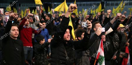 Supporters of Hezbollah react as they listen to a speech by Hezbollah leader Sayyed Hassan Nasrallah delivered on a screen during a rally to mark the Martyrs leaders Day at southern suburb Beirut, Lebanon, 16 February 2020. According to reports, the gathering was organized by Hezbollah in commemoration of the Martyrs Day, to mark the death of Sayyed Abbas Mousawi on 16 February 1992, Sheikh Ragheb Harb Ragheb Harb killed 16 February 1984 and Hajj Imad Moghnieh killed 12 February 2008 in Damascus.