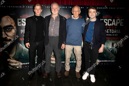 Daniel Webber, Stephen Lee, Tim Jenkin, Daniel Radcliffe. From Left, Actor Daniel Webber, Former Anti-Apartheid Activists stephen Lee and Tim Jenkin together with actor Daniel Radliffe, far right, pose for photographers on arrival at a screening of the film 'Escape From Pretoria' in London