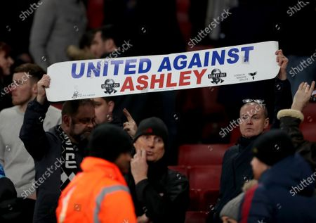 Newcastle United fans protesting against chairman Mike Ashley
