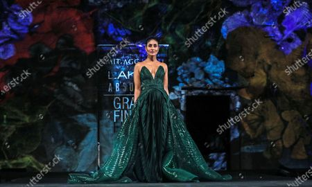 Bollywood actress Kareena Kapoor Khan presents a creation by Indian designer Amit Aggarwal during the grand finale of the Lakme Fashion Week (LFW) Summer/Resort 2020 in Mumbai, India, 16 February 2020.
