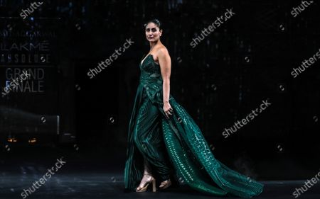 Stock Picture of Bollywood actress Kareena Kapoor Khan presents a creation by Indian designer Amit Aggarwal during the grand finale of the Lakme Fashion Week (LFW) Summer/Resort 2020 in Mumbai, India, 16 February 2020.