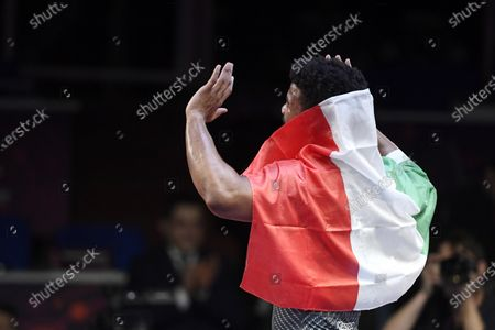 Frank Chamizo Marquez of Italy celebrates his victory over Magomedrasul Gazimagomedov of Russia in the final match of the men's freestyle 74kg weight category of the European Wrestling Championships in Rome, Italy, 16 February 2020.