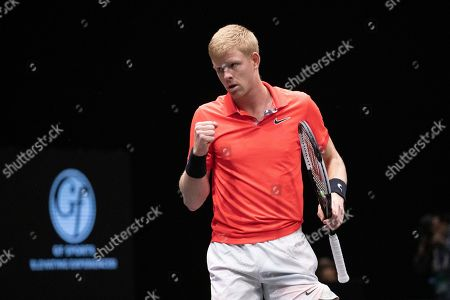 Kyle Edmund, of Britain, reacts after winning a point against Andreas Seppi, of Italy, in the finals of the New York Open tennis tournament, in Uniondale, N.Y