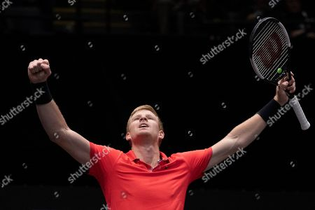 Kyle Edmund, of Britain, reacts after defeating Andreas Seppi, of Italy, in the finals of the New York Open tennis tournament, in Uniondale, N.Y