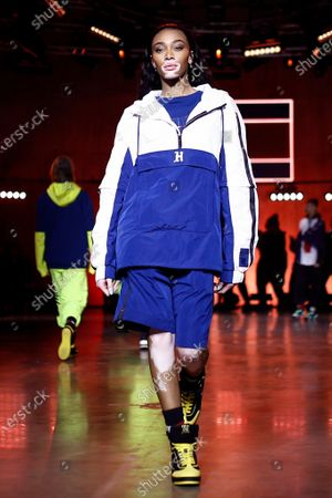 Canadian model Winnie Harlow presents a creation by Tommy Hilfiger during London Fashion Week, in London, Britain, 16 February 2020. The Women's Autumn-Winter 2020/2021 collections are presented at the LFW until 18 February 2020.