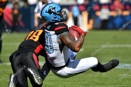Carson, CA.Dallas Renegades te/h Sean Price #80 catches the pass as he is upended by LA Wildcats safety Jack Tocho #29 in action during the XFL football game against the Dallas Renegades at the Dignity Heath Sports Park in Carson, California..Mandatory Photo Credit: Louis Lopez/CSM