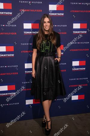 Amber Le Bon poses for photographers ahead of the Tommy Hilfiger Autumn/Winter 2020 fashion week runway show in London