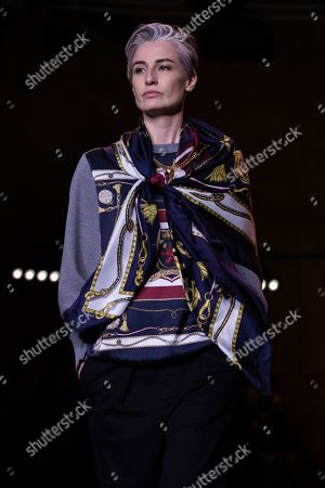 Erin O'Connor wears a creation by designer Tommy Hilfiger at the Autumn/Winter 2020 fashion week runway show in London