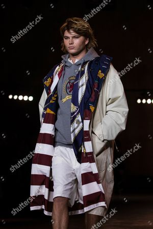 Jordan Barrett wears a creation by designer Tommy Hilfiger at the Autumn/Winter 2020 fashion week runway show in London