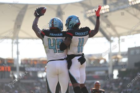 Stock Picture of Dallas Renegades wide receiver Joshua Crockett (11) and Dallas Renegades tight end Donald Parham (49) leap in celebration of a touchdown in the second half in the game between Dallas Renegades and Los Angeles Wildcats, Dignity Health Sports Park, Carson, CA. Peter Joneleit/ CSM