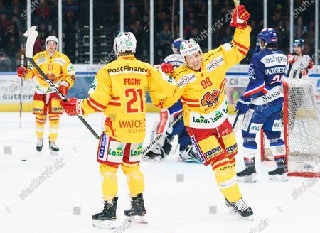 # 96 Damien Brunner of EHC Biel, # 21 Jason Fuchs of EHC Biel