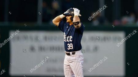 Rice University's Daniel Hernandez (39) reacts during an University of Texas at Rice University NCAA college baseball game, in Houston