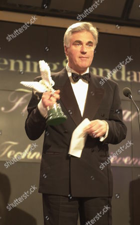 Production Designer Stuart Craig Receives The Best Technical Achievement Award For Harry Potter And The Philosopher's Stone At The Evening Standard Film Awards.