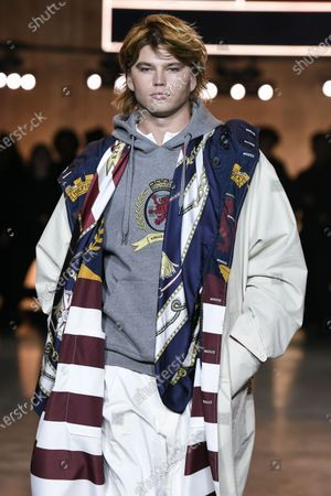 Stock Image of Jordan Barrett on the catwalk