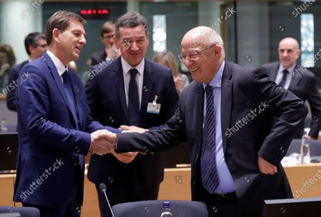 Stock Image of Slovenia Foreign minister Miro Cerar (L) and Portuguese Minister for Foreign Affairs, Augusto Santos Silva (R) during a European foreign affairs council in Brussels, Belgium, 17 February 2020.