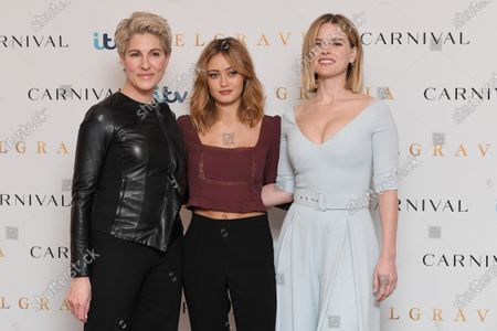 Tamsin Greig, Ella Purnell and Alice Eve